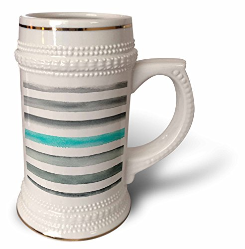 ugh - Patterns - Contemporary Hand Painted Aqua and Gray Hand Painted Stripes - 22oz Stein Mug (stn_283433_1) ()