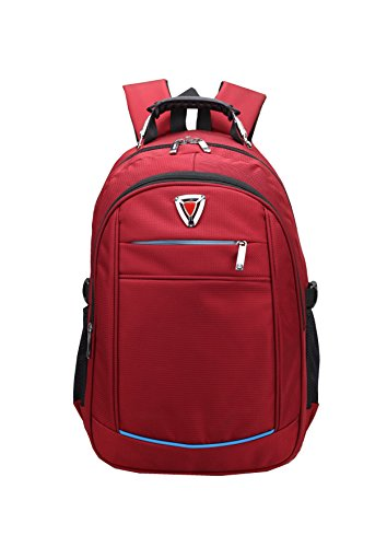Qingstart Durable Travel Outdoor College School or business Backpack Daypack (Red-B)