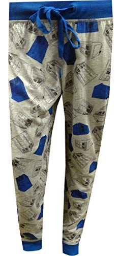 (MJC Women's BBC Doctor Who Wibbly Wobbly Jogger Lounge Pants (Large) Gray)