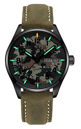 Men's Outdoor Military Tritium Super Bright Self Luminous Quartz Watch (D4- Camo Dial Green)