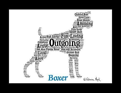 Boxer Dog Wall Art Print - Personalized Pet Name - Gift for Her or Him - 11x14 matted - Ships 1 Day No Cropped Ears ()