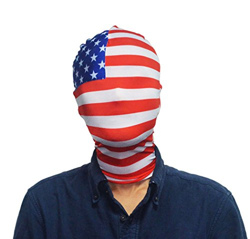 Marvoll Adults USA Flag Spandex America Flag Halloween Mask Hood Costume (Adults Mask Hood, Mask Hood) -