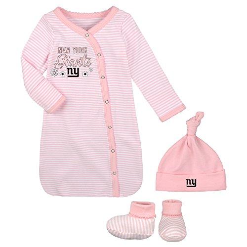 New York Baby Gown (NFL Newborn Gown, Hat & Bootie Set, New York Giants, Pink, 1 Size)