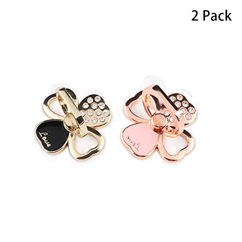 Clover Crystal Finger Ring Holder Kickstand with Diamonds,360 Degree Rotation Universal Mobile Phone Ring Grip Compatible with Samsung and Other Smartphone(Rose Gold and Gold) ()