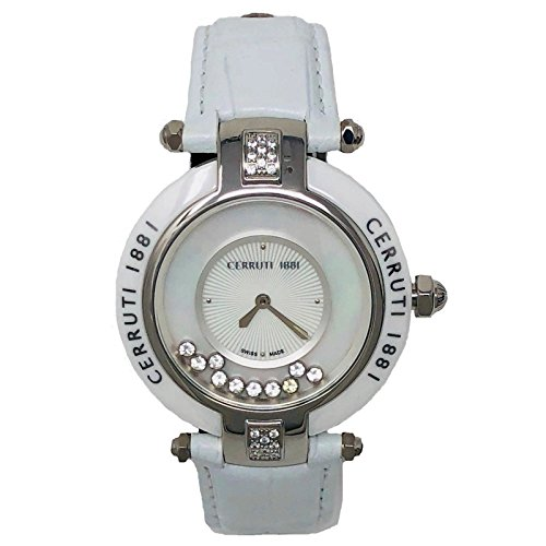 Cerruti 1881 Ladies Quartz Watch White Leather Strap Diamond Ceramic CCRWDM040B556N