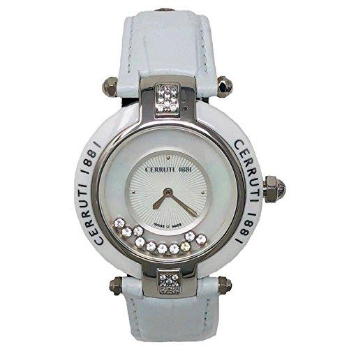 Cerruti 1881 Ladies Quartz Watch White Leather Strap Diamond Ceramic CCRWDM040B556N