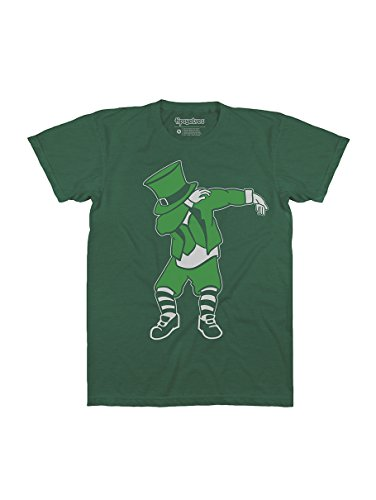 Funny Men's St. Paddy's Day Shirts - Green St. Patrick's Day Tees Outfits for Guys (Dabbing Leprechaun, Large) ()