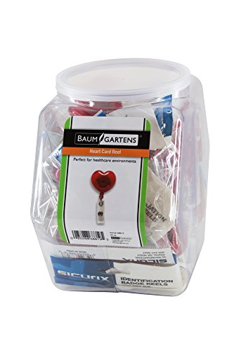 SICURIX ID Badge Reels Heart Shaped Round Belt Clip Strap Hexagonal Tub Display of 30 RED (Heart Shaped Badge Reel)