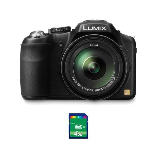 Panasonic Lumix DMC-FZ200 12.1 MP Digital Camera with CMOS Sensor and 24x Optical Zoom - Black - DMC-FZ200K +4GB SDHC Card
