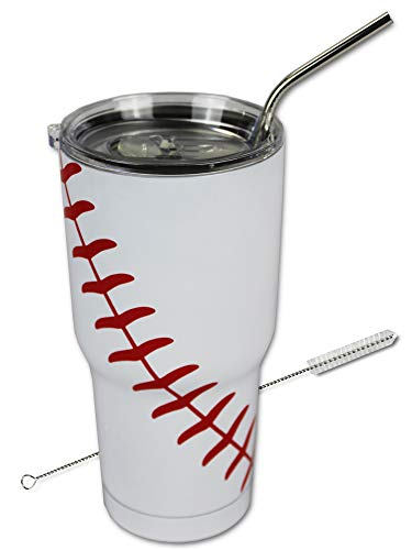 Baseball Tumbler Cup 30oz Gift for Mom Men Sports Coach Travel Coffee Mug, Stainless Steel (Baseball)