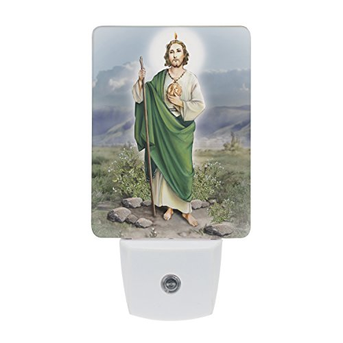 (Saints Collection Unique St. Jude Plug In LED Night Light with Automatic Dusk to Dawn Sensor, Devotional Night Light, For Nursery, Bathroom, Bedroom, Kids Room, and Hallway)