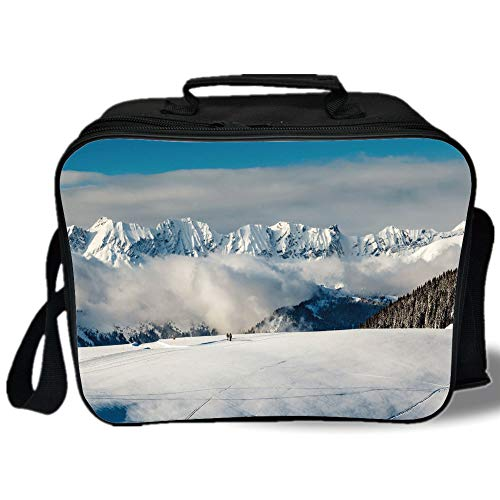 Insulated Lunch Bag,Winter,Panoramic View on Mountains and Two People Walking in French Alps Hiking Travel Decorative,for Work/School/Picnic, Grey