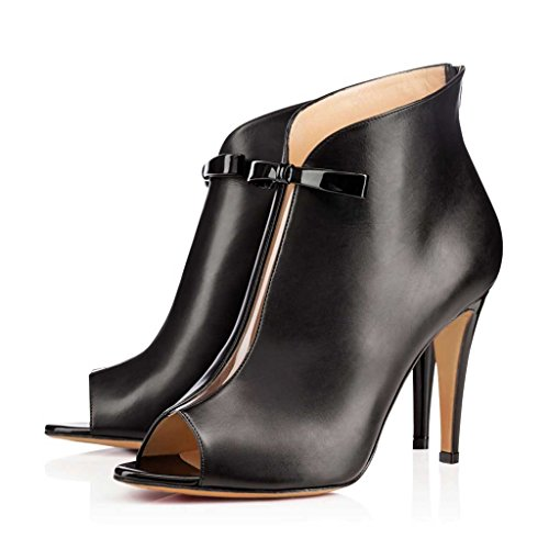 Nancy Jayjii Ankle High Boots for Women Chic Bow Peep Toe Stilettos Back Zip Leather Shoes