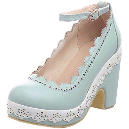 Partiss Damen Sweet Lolita High-top Casual Schuhen Lolita Pumps Herbst Fruehling Hochzeit Tanzenball Maskerade Cosplay Lace Platform Pumps Sommer Sandalen Lolita Shoes Hellblau
