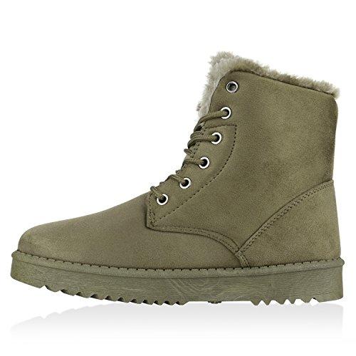 Stiefelparadies Damen Stiefeletten Warm Gefütterte Stiefel Leder-Optik Winter Boots Nieten Zipper Schnallen Camouflage Schuhe Flandell Dunkelgrün Arriate