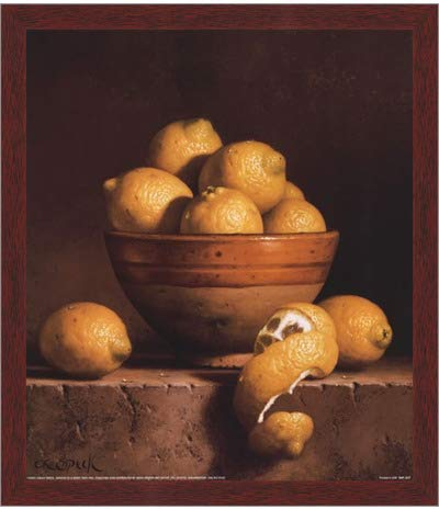 - Poster Palooza Framed Lemons in a Bowl with Peel- 12x14 Inches - Art Print (Walnut Brown Frame)