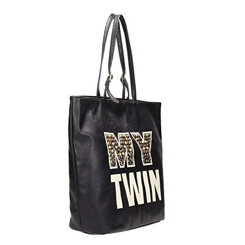 Borsa Shopping Mytwin con logo e applicazioni Nero Borchie