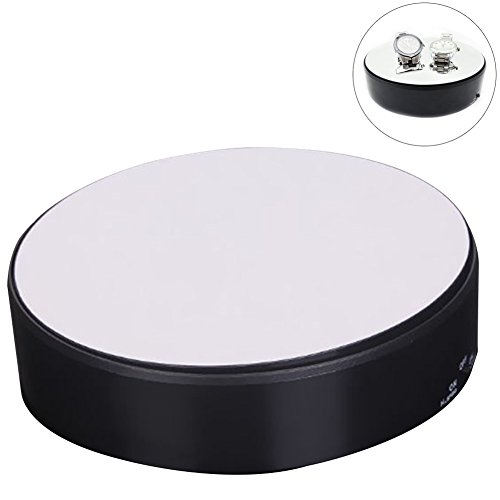 OLizee 18CM 360 Degree Mirror Rotating Turntable Display Stand Power by Battery