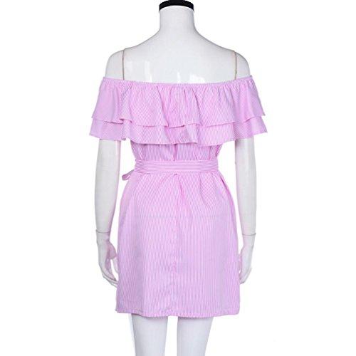 la bretelles taille Robe Femmes Sexy bustier sans LUCKYCAT rayes robe estivales Rose bretelles gZR18P