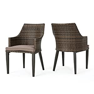 Hillhut Outdoor Mixed Mocha Wicker Dining Chairs with Mocha Water Resistant Cushions (Set of 2)