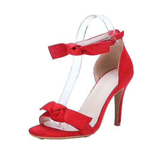 Talon Cuir Ouverture AgooLar Boucle d'orteil Correct à Sandales Rouge PU Femme 4wfxqXUx50