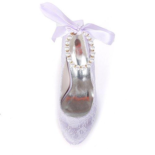 Perlen High Spitze Lightpurple Damen 5623 Gerichts Ager Bänder 08LS Flower Partei Zehe Abschlussball Geschlossener Schuhe Satin Heel Hochzeits xPfFHnq
