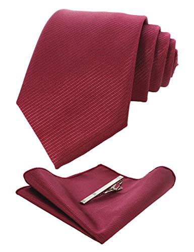 (JEMYGINS Burgundy Formal Necktie and Pocket Square Tie Clip Sets for Men (33))