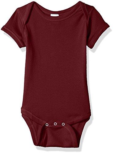 Clementine Infant Soft Cotton Baby Rib Bodysuit, Maroon, 12MOS