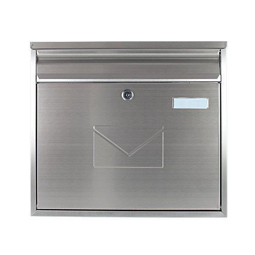 Rottner Edelstahl Briefkasten Teramo Mailbox, Postkasten, Zaunbriefkasten, INOX, Rostfrei, 2 Einwurfschlitze, Namensschild 4780