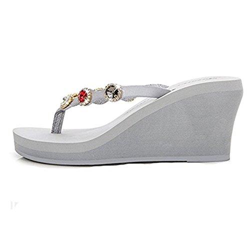 BHUITRFETk Blanc pour 61 Femme FAIRYRAIN Chaussons OfqwSSx7