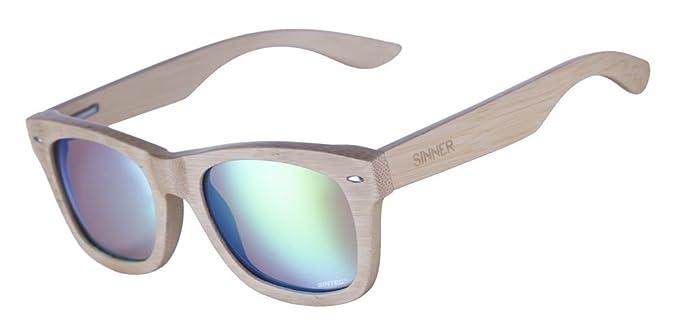 Sinner Unisex Sonnenbrille Beech Bamboo Black, Flash Mirror Sintec, Gr. One size (Herstellergröße: One Size), Schwarz