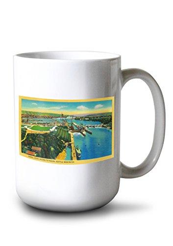 Lantern Press Ballard Locks in Seattle, Second to Panama Canal (15oz White Ceramic Mug)