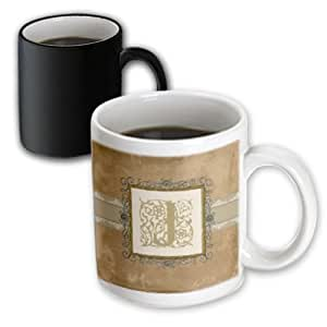 Beverly Turner Initial Design - J Initial Vintage Elegant Vines and Flowers in Sepia and Pewter Look - Mugs - 11oz Magic Transforming Mug - mug_186356_3