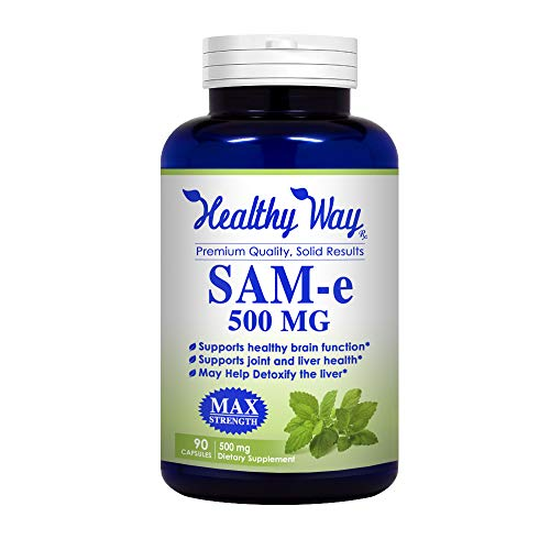Healthy Way Pure SAM-e 500mg 90 Capsules (S-Adenosyl Methionine) Supports Joint Health & Brain Function - NON-GMO USA Made 100% Money Back Guarantee - Order Risk Free!