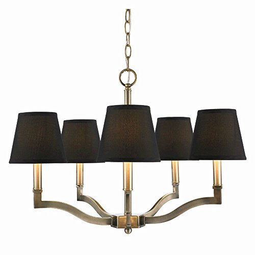 (Golden Lighting 3500-5 AB-GRM Chandelier with Tuxedo Shades, Aged Brass Finish)