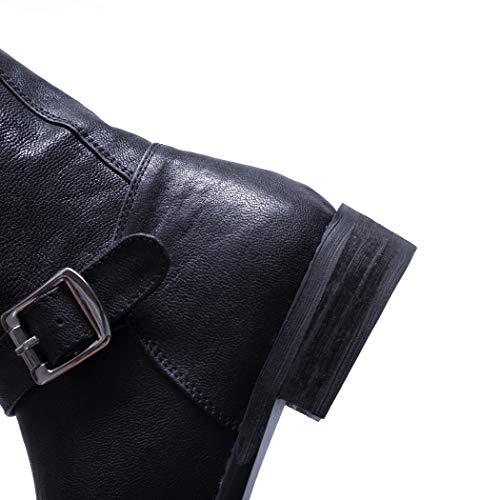 Plataforma Motero Negro Fashion Elegantes Estilo Otoño Tacon Botas Mujer Annieshoe Ancho Bottines 7BOP8nqx