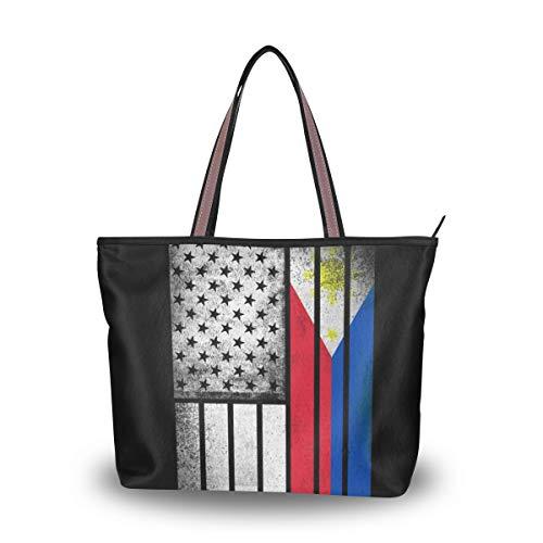 Stylish Women's Tote Bag with Filipino American Flag Print - Handbags Shoulder Bag for Gym Travel Picnic Beach - Filipino Tote Bag