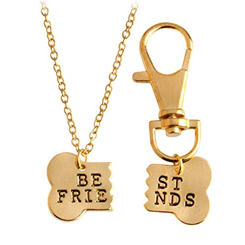DDLmax 2 Pcs Best Friends Friendship Gold Silver Dog Charm Tag Necklace Key Chain Owner and Dog Jewelry Matching Pet Collar Key Chain Pendant