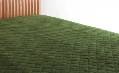 綿100%で快適!敷パッド 同色2枚セット (ダブル) オリーブグリーン B071NKHPCS ダブル|オリーブグリーン オリーブグリーン ダブル