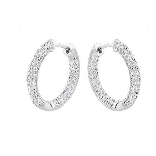 Evan Jewels, EV7-7027 Classic Hoop Earrings in Sterling Silver (Silver) by Evan Jewels