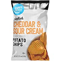 Amazon Brand - Happy Belly Ripped Cheddar & Sour Cream Potato Chips, 7.75 oz