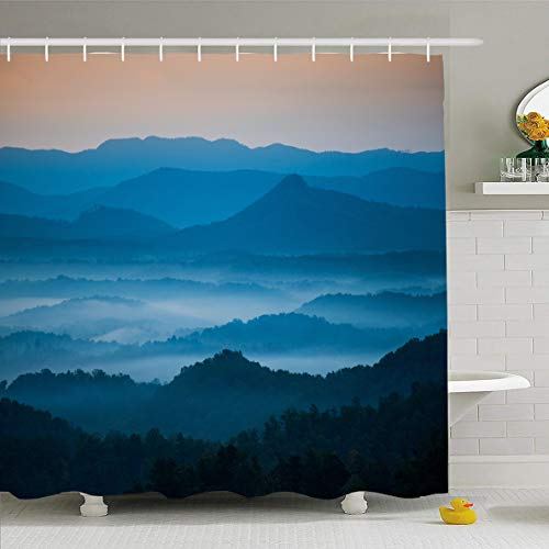 Ahawoso Shower Curtain 66x72 Inches Light Asheville Mountains On Blue Ridge Parkway Welcome Nature Carolina Parks Hendersonville Distance Waterproof Polyester Fabric Set with Hooks ()
