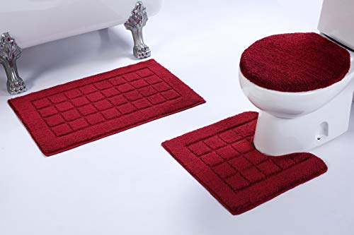 Slip Bath Mat Set with Square Pattern Solid Burgundy Bathroom U-Shaped Contour Rug, Mat and Toilet Lid Cover New # Bath 60 ()