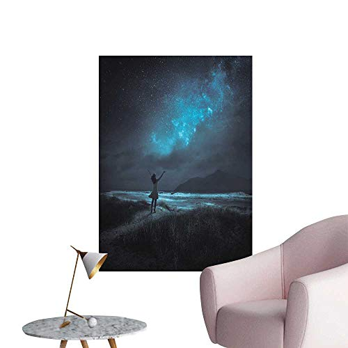 Night Sky Wall Mural Wallpaper Stickers Woman Opening Hands for Wish Pray Ceremony in Full Moon Crescent Image 3D Bathroom Decal Turquoise and Black W16 x H20 -