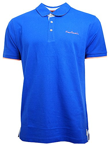 (Pierre Cardin New Season Mens 100% Cotton Detail Pique Polo Shirt with Contrast Chambray and Check Detail and Signature Embroidery (Medium, Royal))