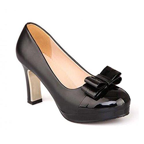 Summerwhisper Women's Sweet Bowknot Round Toe Closes Platform Pumps Chunky Mid Heel Shoes Black 7 B(M) ()