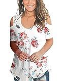Womens Floral Summer Tops V Neck Juniors T Shirt Rose Flower Pattern Elegant White M