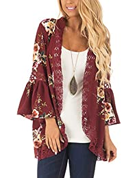 56b7c6168a Womens Floral Loose Bell Sleeve Kimono Cardigan Lace Patchwork Cover Up  Blouse Top