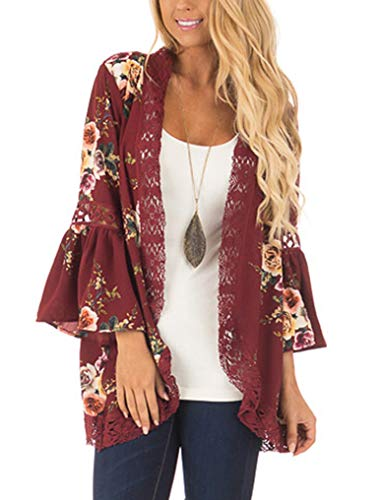 Women Boho Floral Bell Sleeve Kimono Cardigan Cover up Lace Stitching Blouse Top Wine Red,M