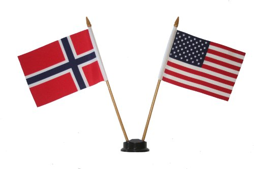 USA & NORWAY Small 4 X 6 Inch Mini Double Country Stick Flag Banner with BLACK STAND on a 10 Inch Plastic Pole .. New]()